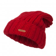 Deep Crown Cuff Long Beanie - Red