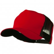 Cotton Cap With Two Side Mesh Panel - Red Black
