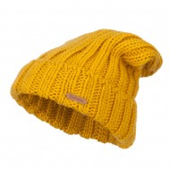 Deep Crown Cuff Long Beanie - Mustard