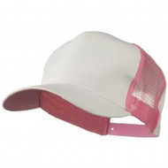 Cotton Cap With Two Side Mesh Panel - White Pink