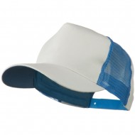 Cotton Cap With Two Side Mesh Panel - White Light Blue