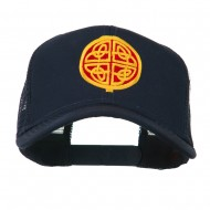 Circular Celtic Design Embroidered Trucker Cap - Navy