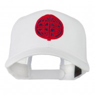 Circular Celtic Design Embroidered Trucker Cap - White