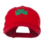 Clover Design Embroidered Cap - Red