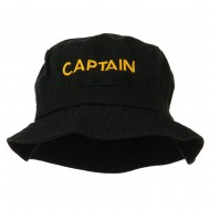 Captain Embroidered Pigment Dyed Bucket Hat - Black
