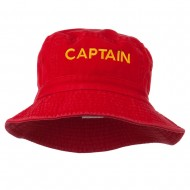 Captain Embroidered Pigment Dyed Bucket Hat - Red