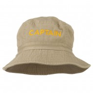 Captain Embroidered Pigment Dyed Bucket Hat - Khaki