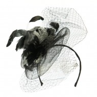 Multi Colored Feather Fascinator with Circle Shaped Net - Black