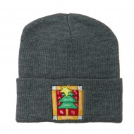 Christmas Tree with Frame Embroidered Beanie - Grey