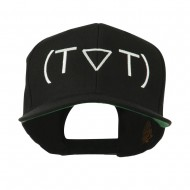 Crying Face Text Emoticon Embroidered Snapback Cap - Black