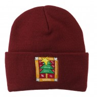 Christmas Tree with Frame Embroidered Beanie - Maroon