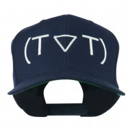 Crying Face Text Emoticon Embroidered Snapback Cap - Royal