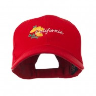 USA State Flower California Poppy Embroidery Cap - Red