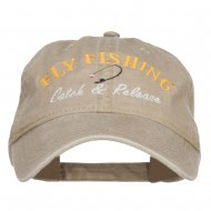 Catch Release Fly Fishing Embroidered Washed Cap - Khaki