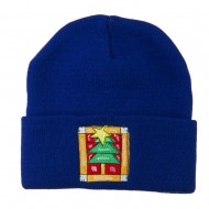 Christmas Tree with Frame Embroidered Beanie - Royal