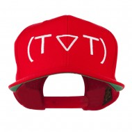 Crying Face Text Emoticon Embroidered Snapback Cap - Red