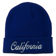 California Embroidered Long Cuff Beanie - Royal