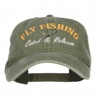 Catch Release Fly Fishing Embroidered Washed Cap - Olive Green