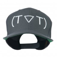 Crying Face Text Emoticon Embroidered Snapback Cap - Grey