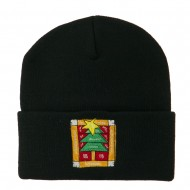 Christmas Tree with Frame Embroidered Beanie - Black