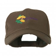 USA State Flower California Poppy Embroidery Cap - Brown