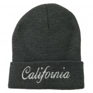 California Embroidered Long Cuff Beanie - Grey