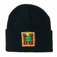 Christmas Tree with Frame Embroidered Beanie - Navy