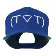 Crying Face Text Emoticon Embroidered Snapback Cap - Navy