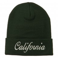 California Embroidered Long Cuff Beanie - Olive