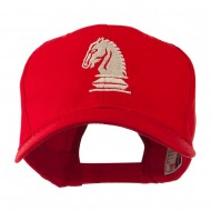 Chess Piece of a Knight Embroidered Cap - Red