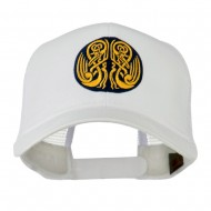 Celtic Image in Circle Embroidered Cap - White