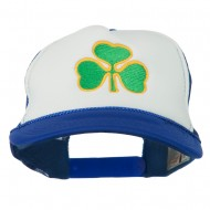 Clover St.Patrick's Day Embroidered Foam Mesh Cap - Royal White