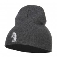Chess Piece Kight Embroidered Short Beanie - Grey