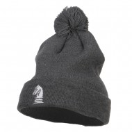 Chess Piece Knight Embroidered Pom Beanie - Dk Grey