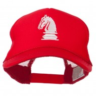 Chess Knight Embroidered Foam Front Mesh Back Cap - Red