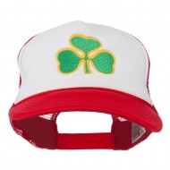 Clover St.Patrick's Day Embroidered Foam Mesh Cap - Red White Red