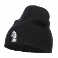 Chess Piece Kight Embroidered Short Beanie - Black