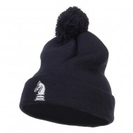 Chess Piece Knight Embroidered Pom Beanie - Navy
