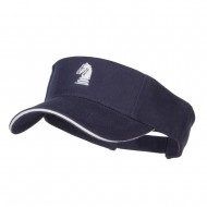 Chess Knight Embroidered Brushed Visor - Navy