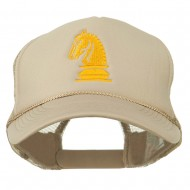 Chess Knight Embroidered Foam Front Mesh Back Cap - Khaki