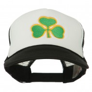 Clover St.Patrick's Day Embroidered Foam Mesh Cap - Black White