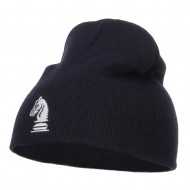 Chess Piece Kight Embroidered Short Beanie - Navy