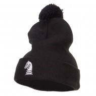 Chess Piece Knight Embroidered Pom Beanie - Black