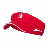 Chess Knight Embroidered Brushed Visor - Red