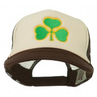 Clover St.Patrick's Day Embroidered Foam Mesh Cap - Brown Tan