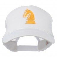 Chess Knight Embroidered Foam Front Mesh Back Cap - White