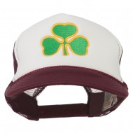 Clover St.Patrick's Day Embroidered Foam Mesh Cap - Maroon White