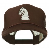 Chess Knight Embroidered Foam Front Mesh Back Cap - Brown