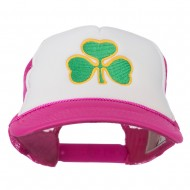 Clover St.Patrick's Day Embroidered Foam Mesh Cap - Hot Pink White