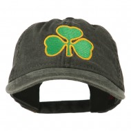 St. Patrick's Day Clover Embroidered Washed Cap - Black